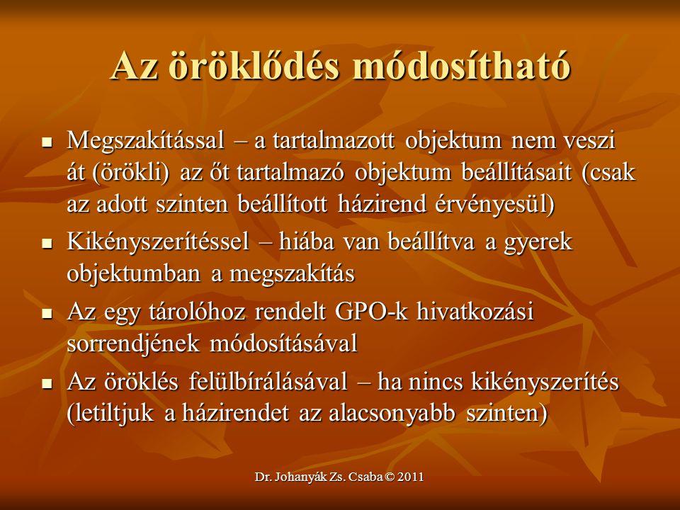 Dr. Johanyák Zs. Csaba © 2011 Az öröklődés módosítható  Megszakítással – a tartalmazott objektum nem veszi át (örökli) az őt tartalmazó objektum beál