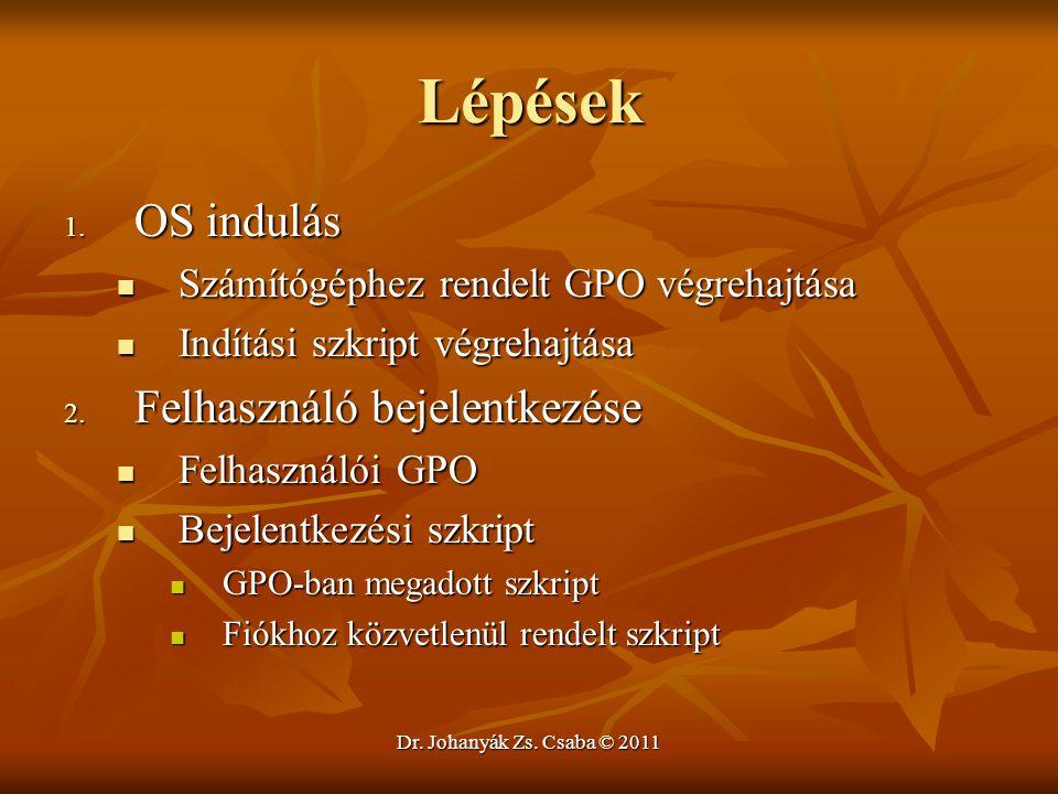 Dr. Johanyák Zs. Csaba © 2011 Lépések 1. OS indulás  Számítógéphez rendelt GPO végrehajtása  Indítási szkript végrehajtása 2. Felhasználó bejelentke