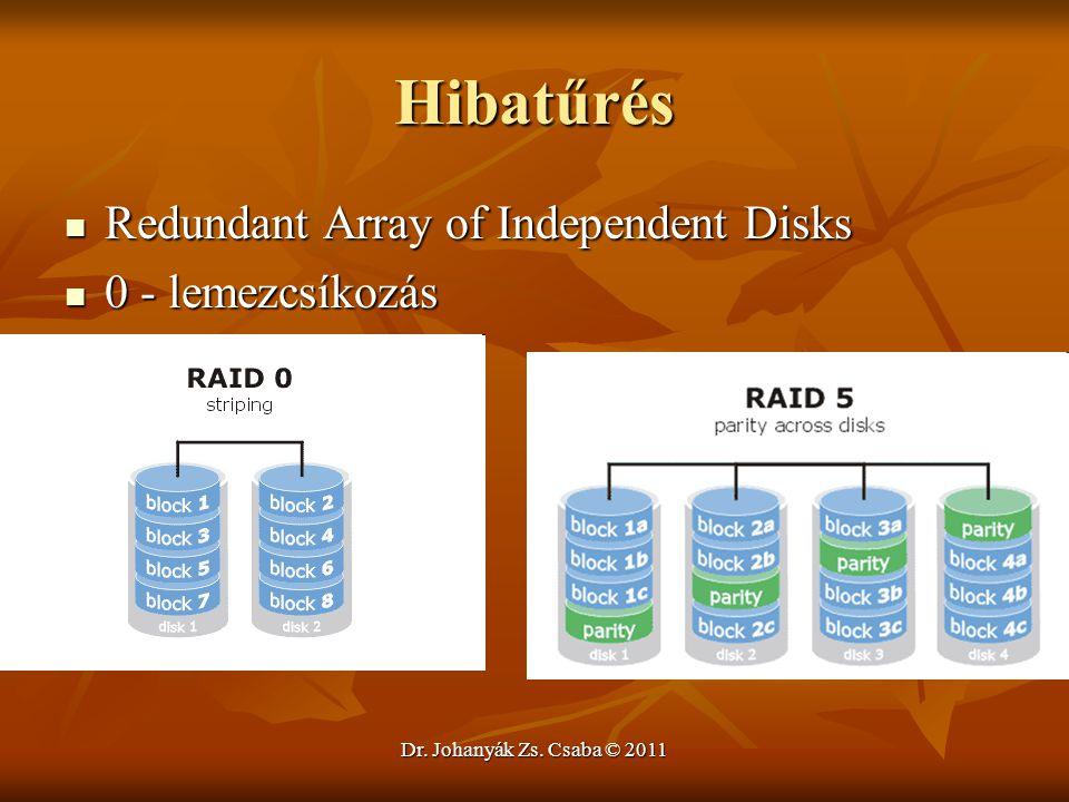 Dr. Johanyák Zs. Csaba © 2011 Hibatűrés  Redundant Array of Independent Disks  0 - lemezcsíkozás