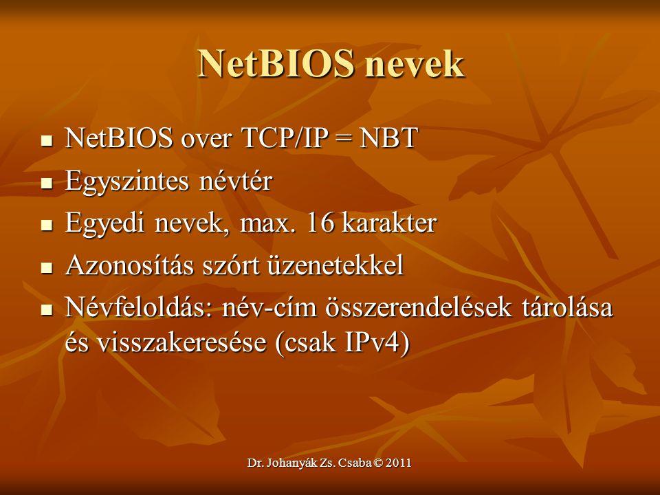 Dr. Johanyák Zs. Csaba © 2011 NetBIOS nevek  NetBIOS over TCP/IP = NBT  Egyszintes névtér  Egyedi nevek, max. 16 karakter  Azonosítás szórt üzenet