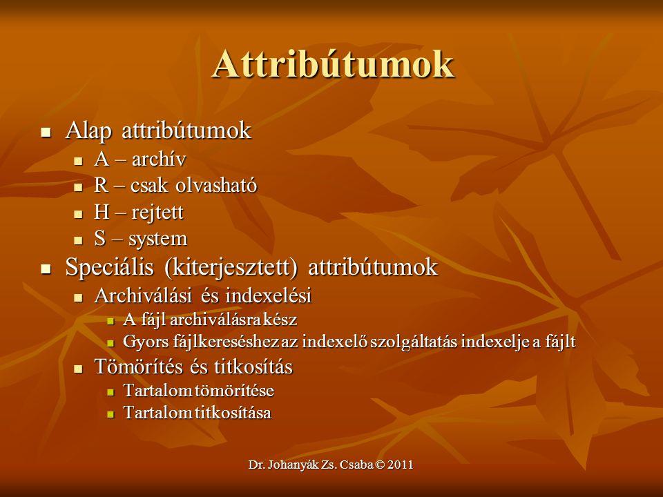 Dr. Johanyák Zs. Csaba © 2011 Attribútumok  Alap attribútumok  A – archív  R – csak olvasható  H – rejtett  S – system  Speciális (kiterjesztett