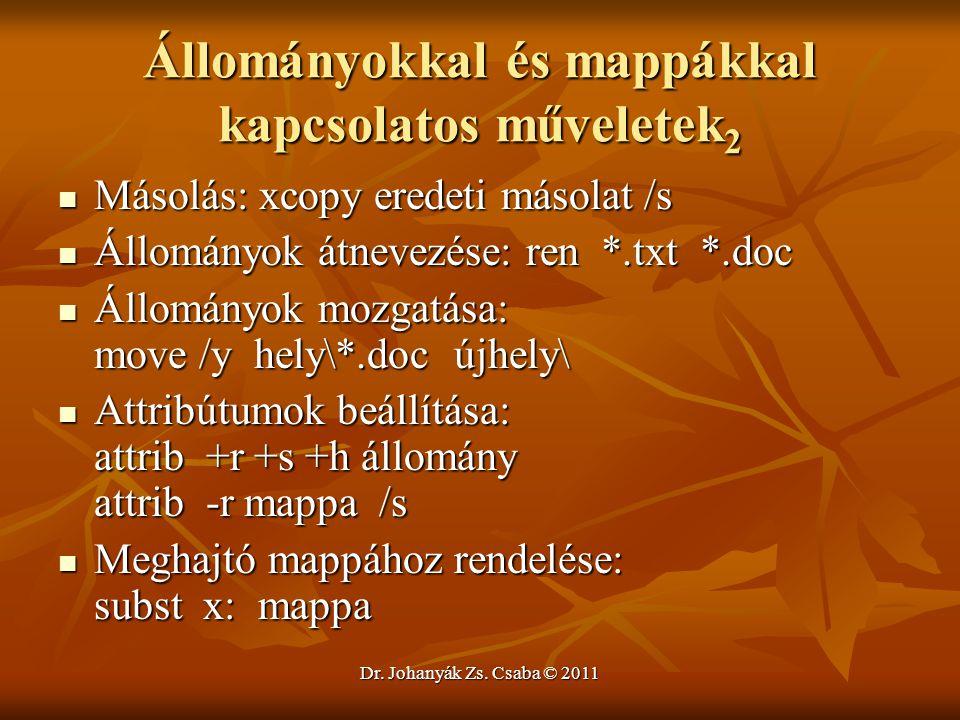 Dr. Johanyák Zs. Csaba © 2011 Állományokkal és mappákkal kapcsolatos műveletek 2  Másolás: xcopy eredeti másolat /s  Állományok átnevezése: ren *.tx