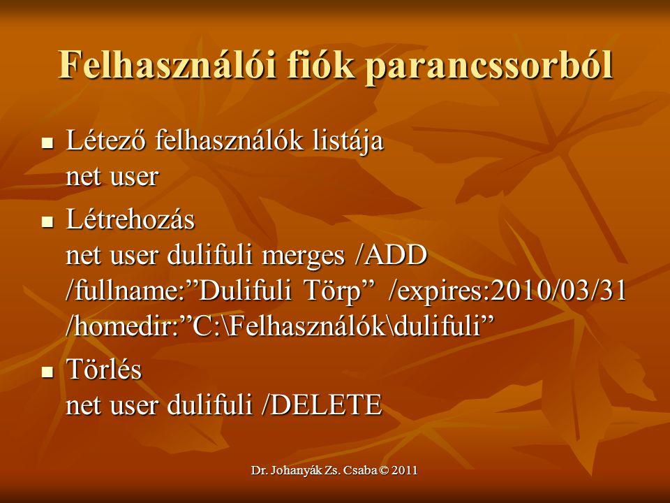 """Felhasználói fiók parancssorból  Létező felhasználók listája net user  Létrehozás net user dulifuli merges /ADD /fullname:""""Dulifuli Törp"""" /expires:2"""