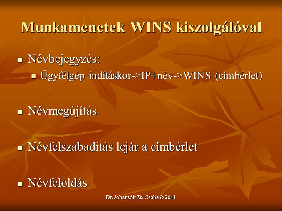 Dr. Johanyák Zs. Csaba © 2011 Munkamenetek WINS kiszolgálóval  Névbejegyzés:  Ügyfélgép indításkor->IP+név->WINS (címbérlet)  Névmegújítás  Névfel