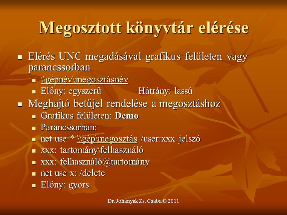 Dr. Johanyák Zs. Csaba © 2011 Megosztott könyvtár elérése  Elérés UNC megadásával grafikus felületen vagy parancssorban  \\gépnév\megosztásnév \\gép