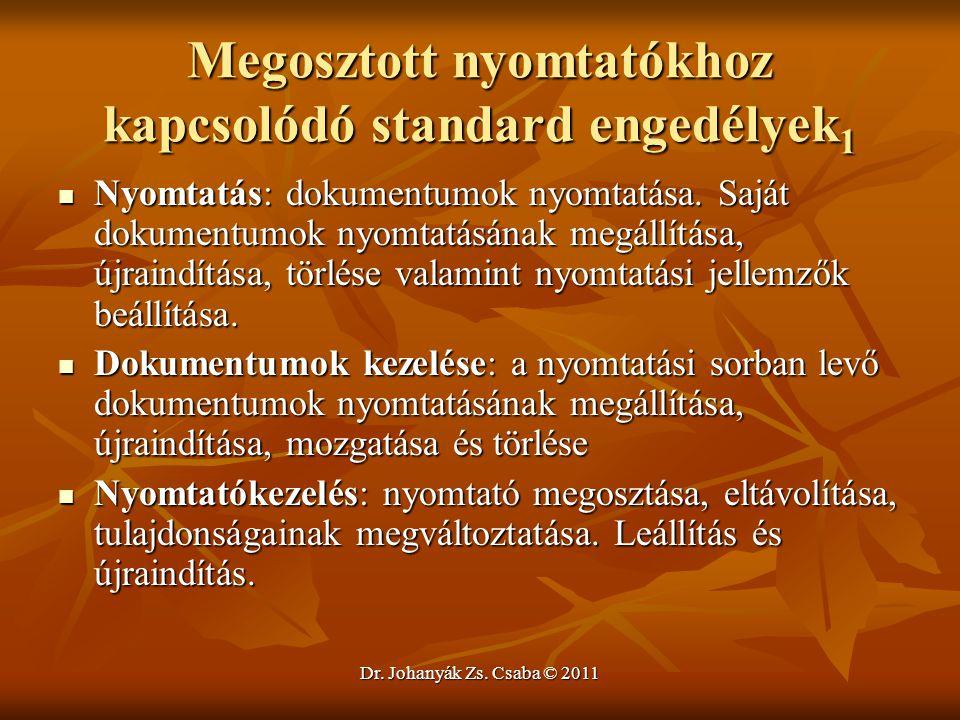 Dr. Johanyák Zs. Csaba © 2011 Megosztott nyomtatókhoz kapcsolódó standard engedélyek 1  Nyomtatás: dokumentumok nyomtatása. Saját dokumentumok nyomta
