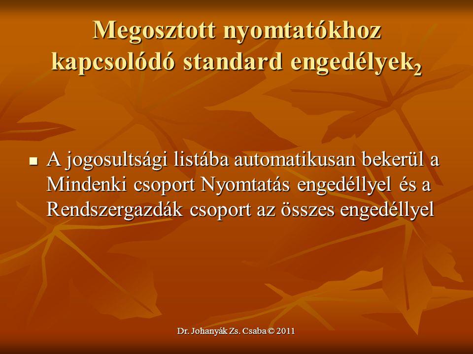 Dr. Johanyák Zs. Csaba © 2011 Megosztott nyomtatókhoz kapcsolódó standard engedélyek 2  A jogosultsági listába automatikusan bekerül a Mindenki csopo