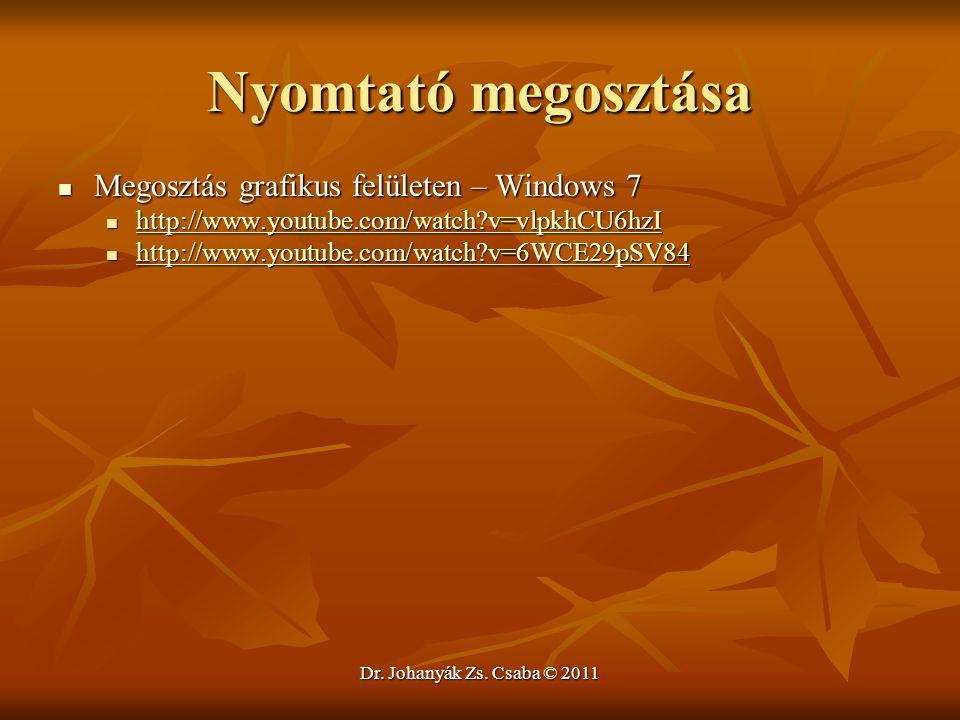 Dr. Johanyák Zs. Csaba © 2011 Nyomtató megosztása  Megosztás grafikus felületen – Windows 7  http://www.youtube.com/watch?v=vlpkhCU6hzI http://www.y