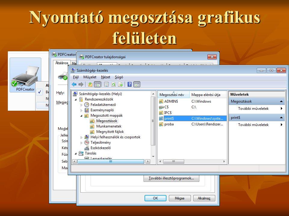 Nyomtató megosztása grafikus felületen Dr. Johanyák Zs. Csaba © 2011