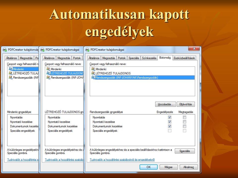 Automatikusan kapott engedélyek Dr. Johanyák Zs. Csaba © 2011