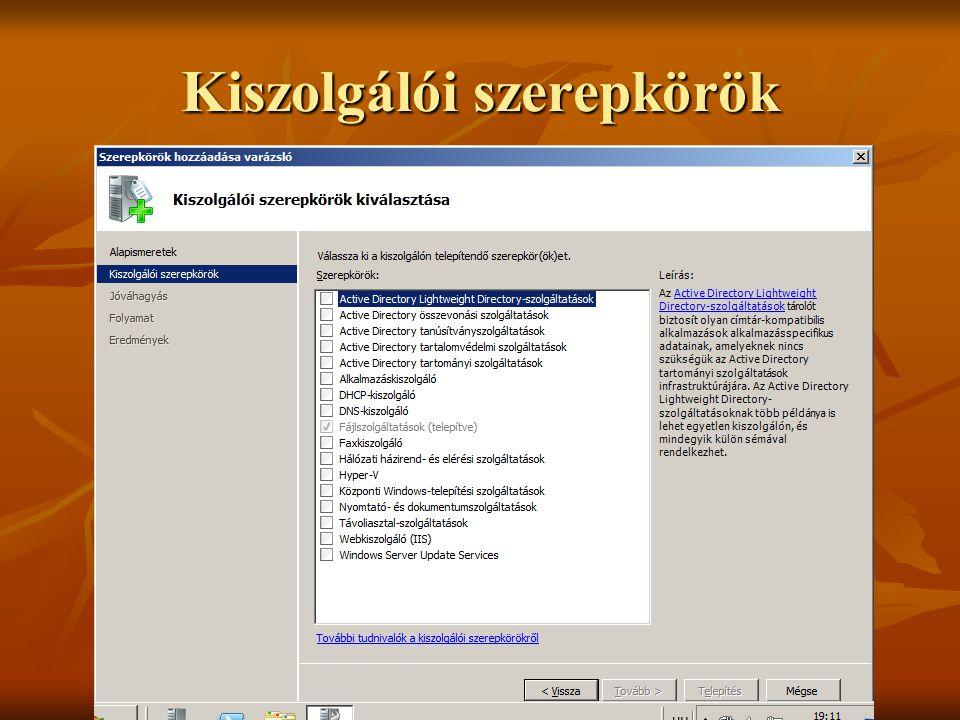 Kiszolgálói szerepkörök Dr. Johanyák Zs. Csaba © 2011