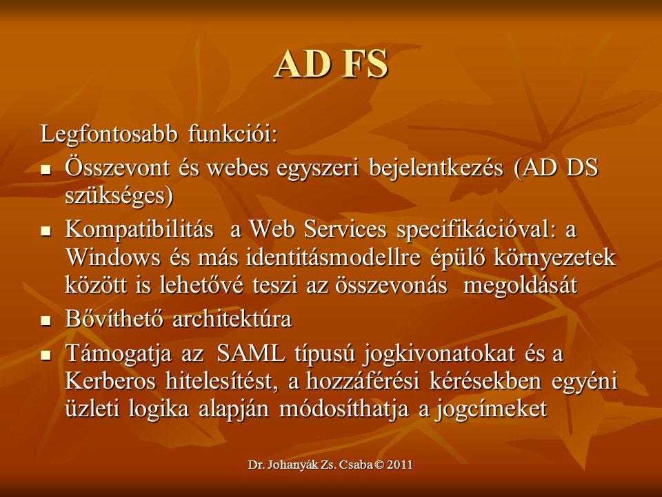 Dr. Johanyák Zs. Csaba © 2011 AD FS Legfontosabb funkciói:  Összevont és webes egyszeri bejelentkezés (AD DS szükséges)  Kompatibilitás a Web Servic