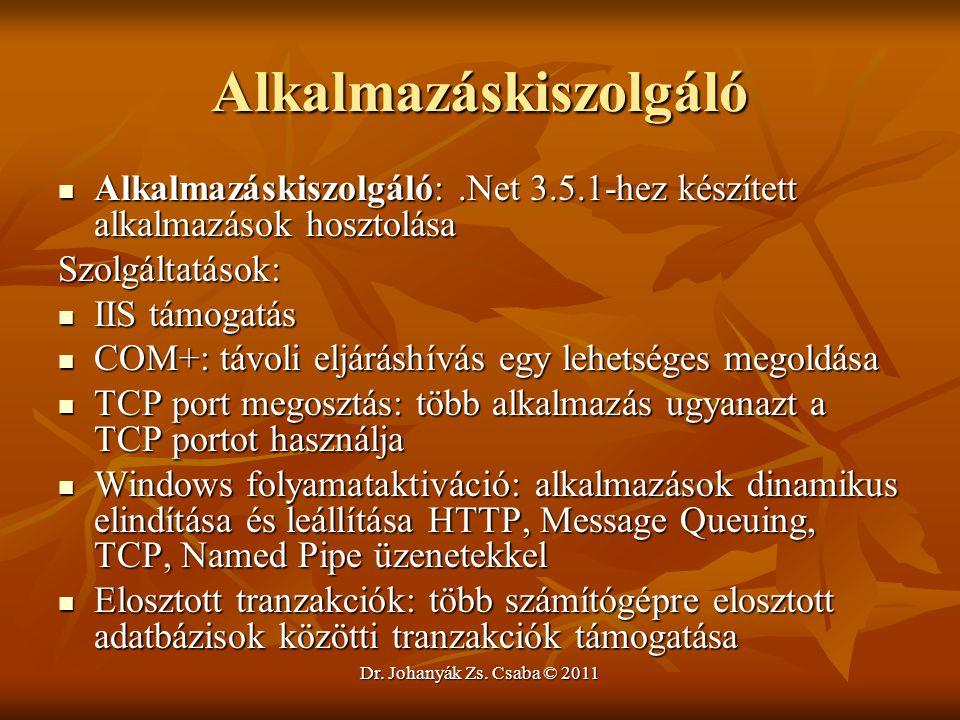 Dr. Johanyák Zs. Csaba © 2011 Alkalmazáskiszolgáló  Alkalmazáskiszolgáló:.Net 3.5.1-hez készített alkalmazások hosztolása Szolgáltatások:  IIS támog