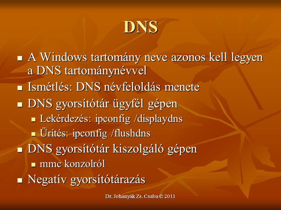 Dr. Johanyák Zs. Csaba © 2011 DNS  A Windows tartomány neve azonos kell legyen a DNS tartománynévvel  Ismétlés: DNS névfeloldás menete  DNS gyorsít