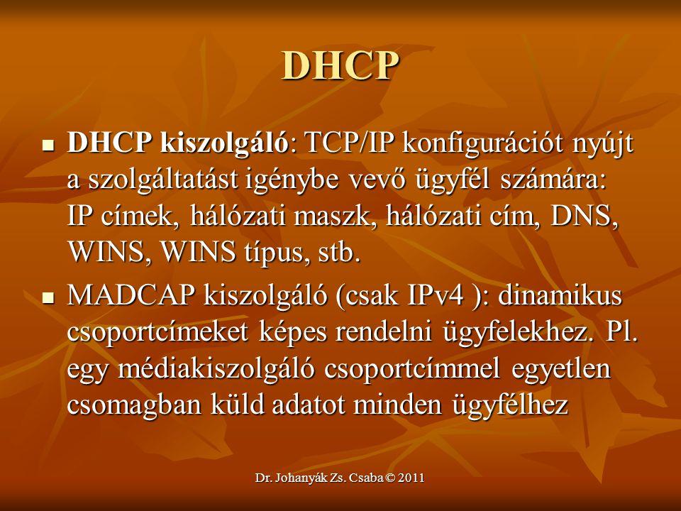 Dr. Johanyák Zs. Csaba © 2011 DHCP  DHCP kiszolgáló: TCP/IP konfigurációt nyújt a szolgáltatást igénybe vevő ügyfél számára: IP címek, hálózati maszk