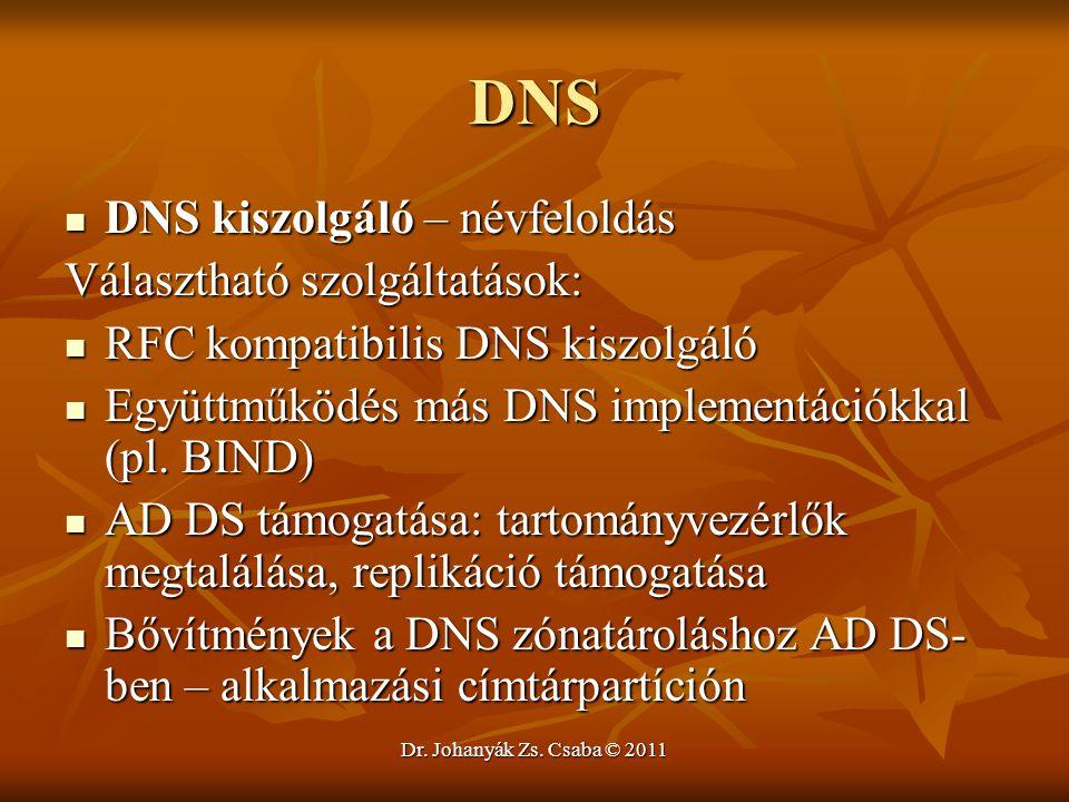 Dr. Johanyák Zs. Csaba © 2011 DNS  DNS kiszolgáló – névfeloldás Választható szolgáltatások:  RFC kompatibilis DNS kiszolgáló  Együttműködés más DNS