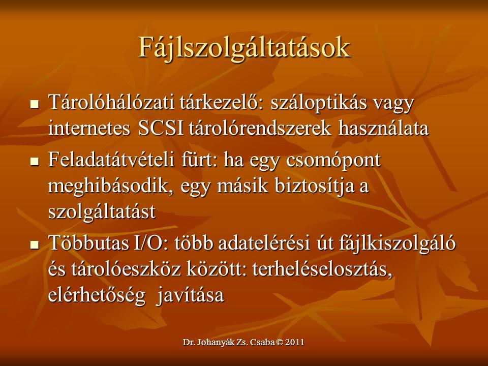 Dr. Johanyák Zs. Csaba © 2011 Fájlszolgáltatások  Tárolóhálózati tárkezelő: száloptikás vagy internetes SCSI tárolórendszerek használata  Feladatátv