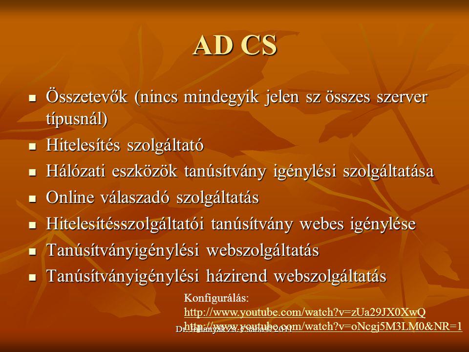 Dr. Johanyák Zs. Csaba © 2011 AD CS  Összetevők (nincs mindegyik jelen sz összes szerver típusnál)  Hitelesítés szolgáltató  Hálózati eszközök tanú