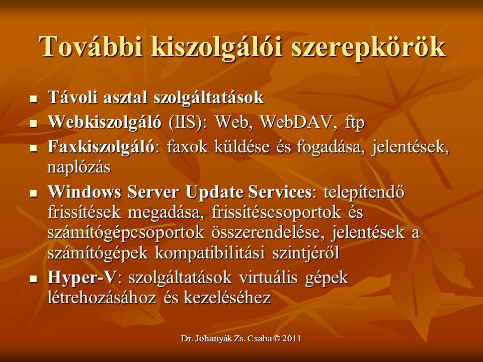 Dr. Johanyák Zs. Csaba © 2011 További kiszolgálói szerepkörök  Távoli asztal szolgáltatások  Webkiszolgáló (IIS): Web, WebDAV, ftp  Faxkiszolgáló: