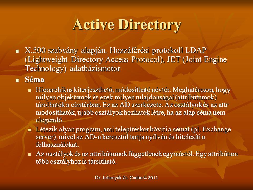 Dr. Johanyák Zs. Csaba © 2011 Active Directory  X.500 szabvány alapján. Hozzáférési protokoll LDAP (Lightweight Directory Access Protocol), JET (Join