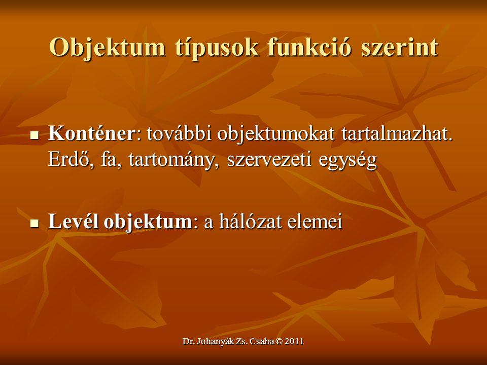 Dr. Johanyák Zs. Csaba © 2011 Objektum típusok funkció szerint  Konténer: további objektumokat tartalmazhat. Erdő, fa, tartomány, szervezeti egység 