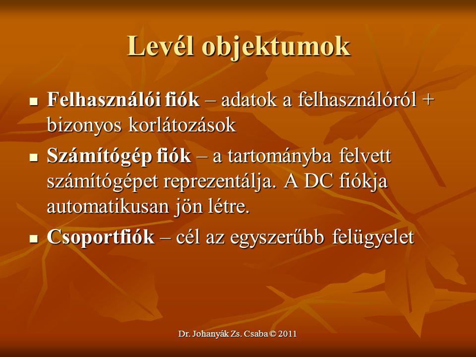 Dr. Johanyák Zs. Csaba © 2011 Levél objektumok  Felhasználói fiók – adatok a felhasználóról + bizonyos korlátozások  Számítógép fiók – a tartományba