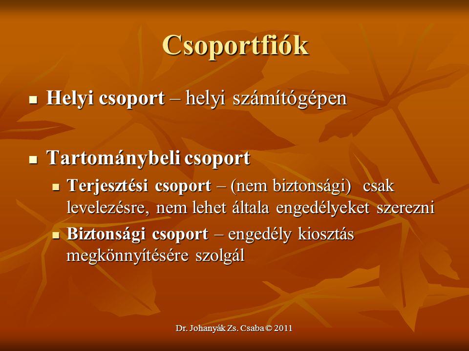 Dr. Johanyák Zs. Csaba © 2011 Csoportfiók  Helyi csoport – helyi számítógépen  Tartománybeli csoport  Terjesztési csoport – (nem biztonsági) csak l