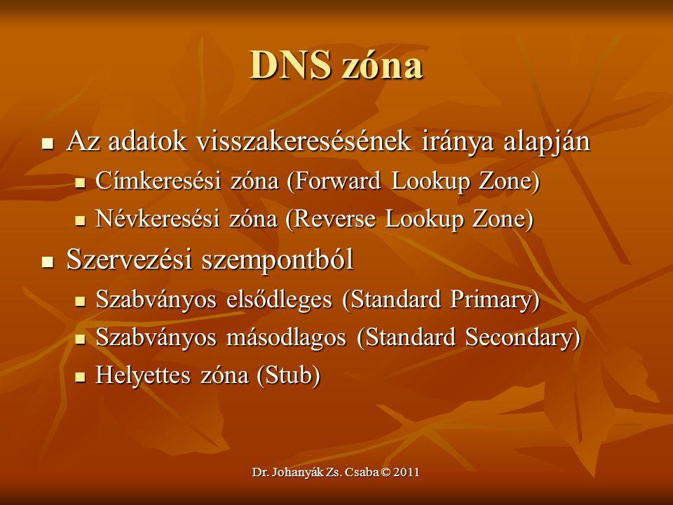 Dr. Johanyák Zs. Csaba © 2011 DNS zóna  Az adatok visszakeresésének iránya alapján  Címkeresési zóna (Forward Lookup Zone)  Névkeresési zóna (Rever