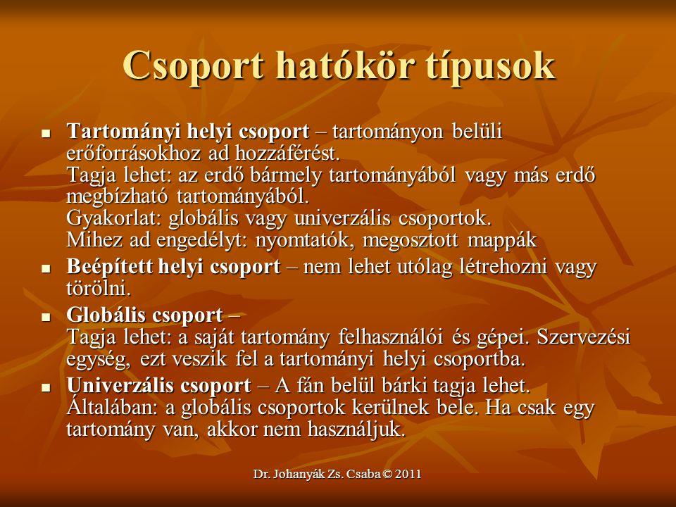 Dr. Johanyák Zs. Csaba © 2011 Csoport hatókör típusok  Tartományi helyi csoport – tartományon belüli erőforrásokhoz ad hozzáférést. Tagja lehet: az e