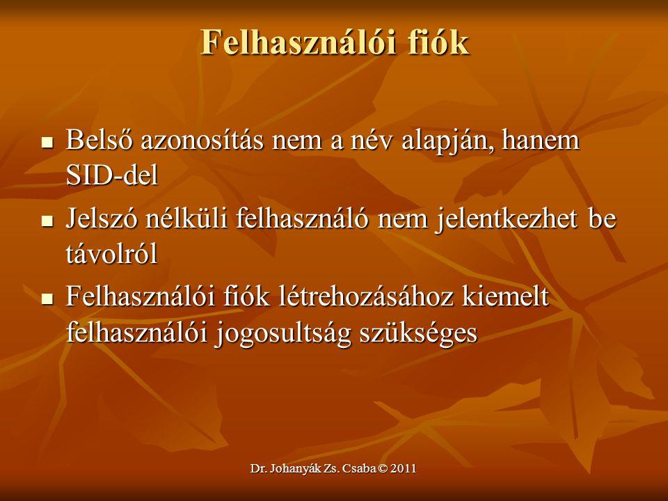 Dr. Johanyák Zs. Csaba © 2011 Felhasználói fiók  Belső azonosítás nem a név alapján, hanem SID-del  Jelszó nélküli felhasználó nem jelentkezhet be t