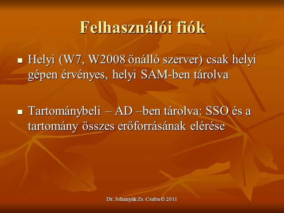 Dr. Johanyák Zs. Csaba © 2011 Felhasználói fiók  Helyi (W7, W2008 önálló szerver) csak helyi gépen érvényes, helyi SAM-ben tárolva  Tartománybeli –