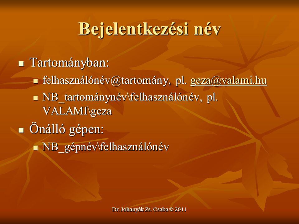 Dr. Johanyák Zs. Csaba © 2011 Bejelentkezési név  Tartományban:  felhasználónév@tartomány, pl. geza@valami.hu geza@valami.hu  NB_tartománynév\felha
