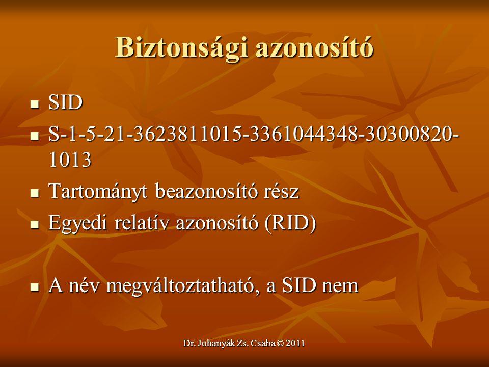 Dr. Johanyák Zs. Csaba © 2011 Biztonsági azonosító  SID  S-1-5-21-3623811015-3361044348-30300820- 1013  Tartományt beazonosító rész  Egyedi relatí