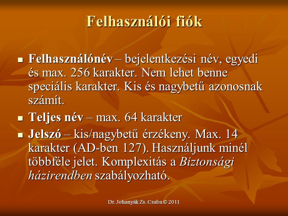 Dr. Johanyák Zs. Csaba © 2011 Felhasználói fiók  Felhasználónév – bejelentkezési név, egyedi és max. 256 karakter. Nem lehet benne speciális karakter
