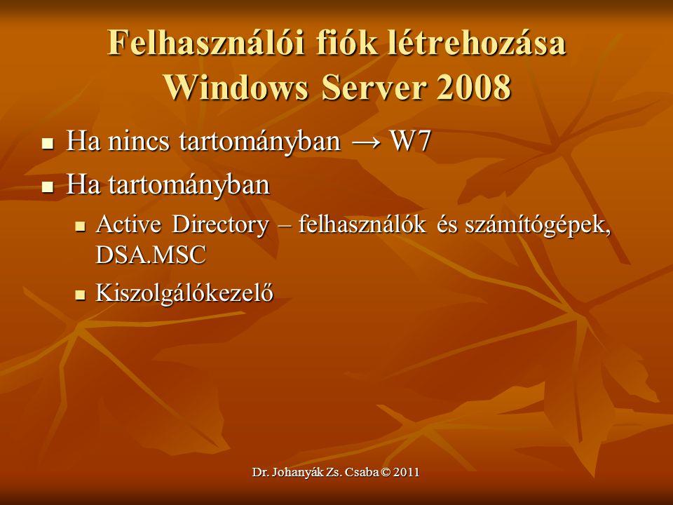 Dr. Johanyák Zs. Csaba © 2011 Felhasználói fiók létrehozása Windows Server 2008  Ha nincs tartományban → W7  Ha tartományban  Active Directory – fe
