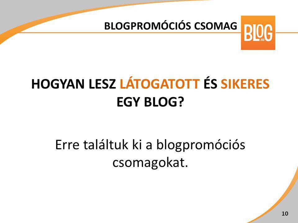 HOGYAN LESZ LÁTOGATOTT ÉS SIKERES EGY BLOG? Erre találtuk ki a blogpromóciós csomagokat. 10 BLOGPROMÓCIÓS CSOMAG