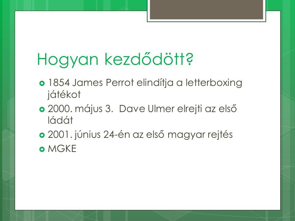 Hogyan kezdődött?  1854 James Perrot elindítja a letterboxing játékot  2000. május 3. Dave Ulmer elrejti az első ládát  2001. június 24-én az első