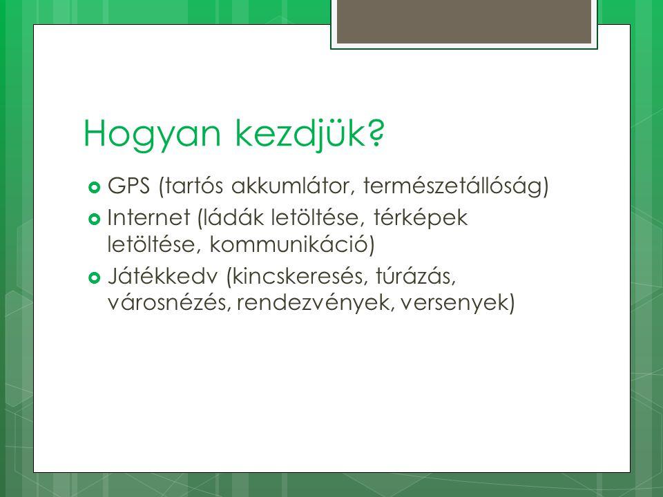 Hogyan kezdjük?  GPS (tartós akkumlátor, természetállóság)  Internet (ládák letöltése, térképek letöltése, kommunikáció)  Játékkedv (kincskeresés,