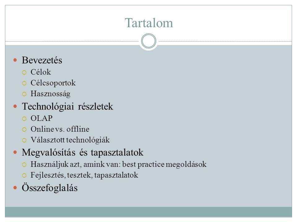 Tartalom  Bevezetés  Célok  Célcsoportok  Hasznosság  Technológiai részletek  OLAP  Online vs.
