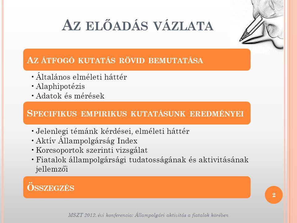 A Z ELŐADÁS VÁZLATA 2 MSZT 2012. évi konferencia: Állampolgári aktivitás a fiatalok körében A Z ÁTFOGÓ KUTATÁS RÖVID BEMUTATÁSA •Általános elméleti há
