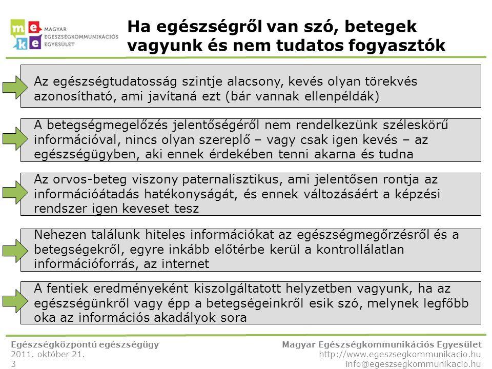 Ha egészségről van szó, betegek vagyunk és nem tudatos fogyasztók Egészségközpontú egészségügy 2011. október 21. 3 Magyar Egészségkommunikációs Egyesü