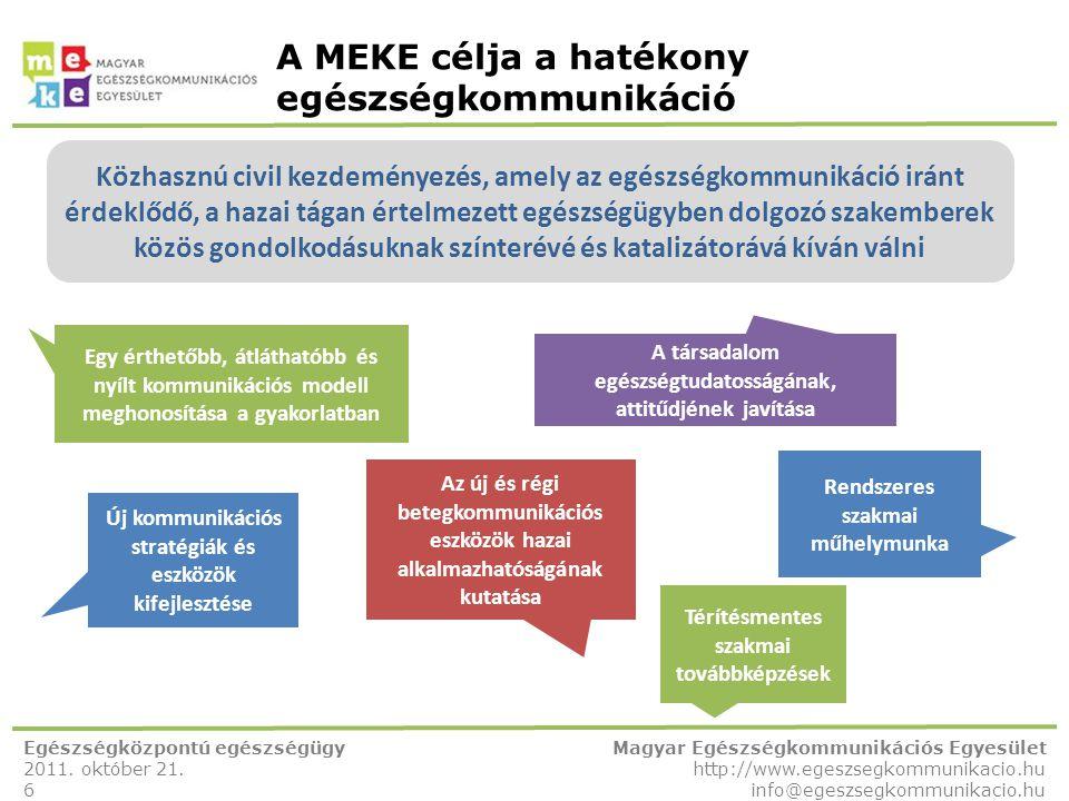 A MEKE célja a hatékony egészségkommunikáció Egészségközpontú egészségügy 2011. október 21. 6 Magyar Egészségkommunikációs Egyesület http://www.egeszs