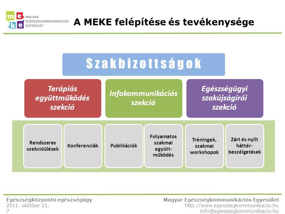 A MEKE felépítése és tevékenysége Egészségközpontú egészségügy 2011. október 21. 7 Magyar Egészségkommunikációs Egyesület http://www.egeszsegkommunika