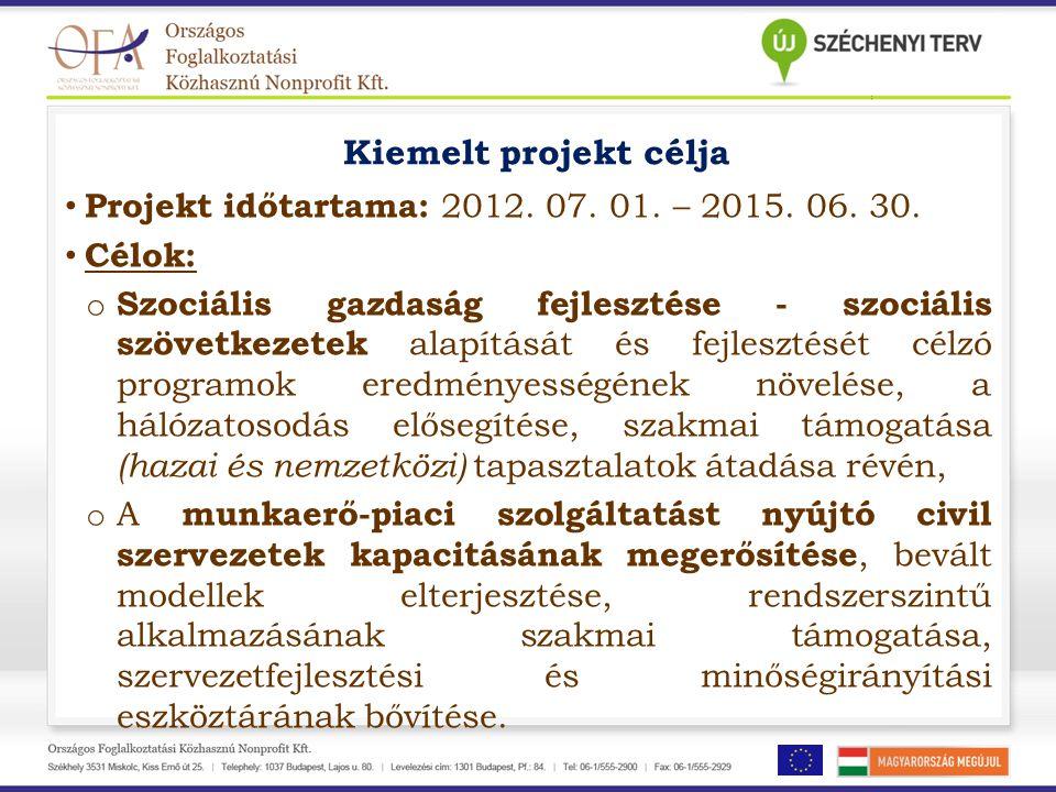 Kiemelt projekt célja • Projekt időtartama: 2012. 07. 01. – 2015. 06. 30. • Célok: o Szociális gazdaság fejlesztése - szociális szövetkezetek alapítás