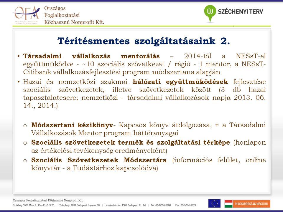 Térítésmentes szolgáltatásaink 2. • Társadalmi vállalkozás mentorálás – 2014-től a NESsT-el együttműködve - ~10 szociális szövetkezet / régió - 1 ment