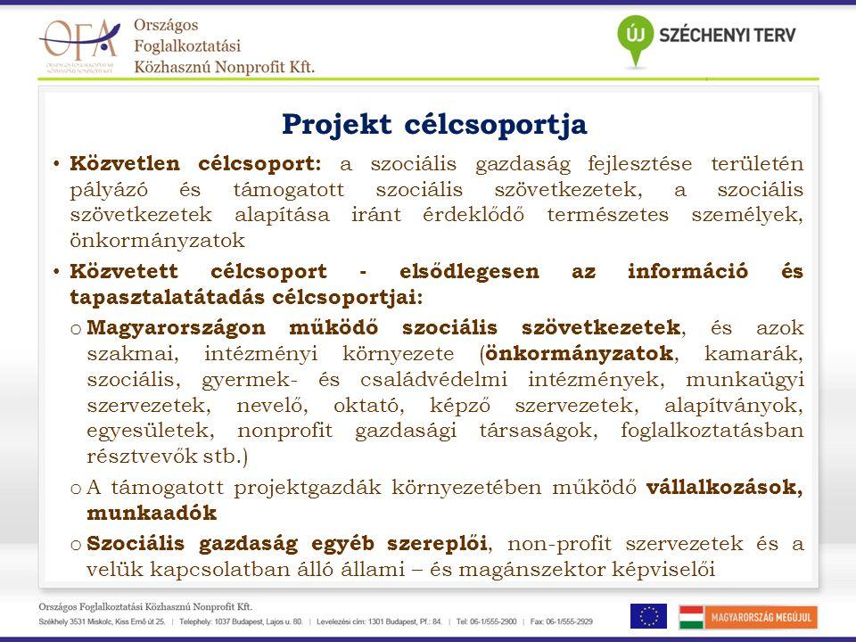 Projekt célcsoportja • Közvetlen célcsoport: a szociális gazdaság fejlesztése területén pályázó és támogatott szociális szövetkezetek, a szociális szö