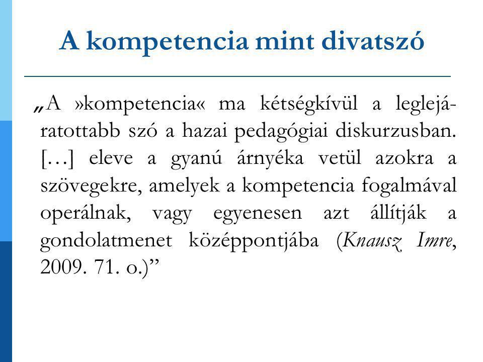 """A kompetencia mint divatszó """" A »kompetencia« ma kétségkívül a leglejá- ratottabb szó a hazai pedagógiai diskurzusban."""