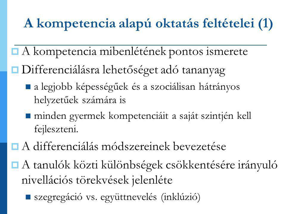 A kompetencia alapú oktatás feltételei (1)  A kompetencia mibenlétének pontos ismerete  Differenciálásra lehetőséget adó tananyag  a legjobb képess