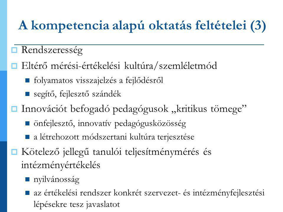 A kompetencia alapú oktatás feltételei (3)  Rendszeresség  Eltérő mérési-értékelési kultúra/szemléletmód  folyamatos visszajelzés a fejlődésről  s