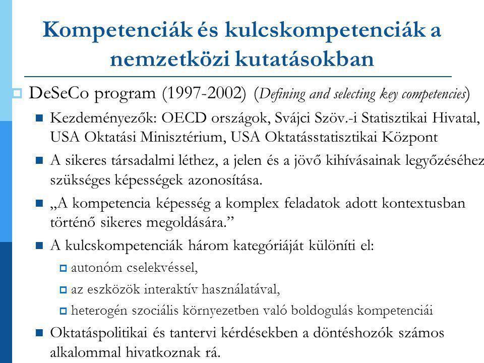 Kompetenciák és kulcskompetenciák a nemzetközi kutatásokban  DeSeCo program (1997-2002) ( Defining and selecting key competencies )  Kezdeményezők: